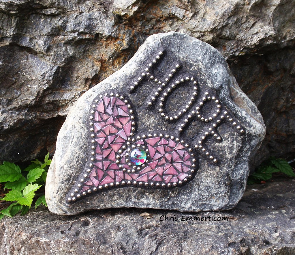 Quot Hope Quot Heart Mosaic Garden Stone Commission Stone For A