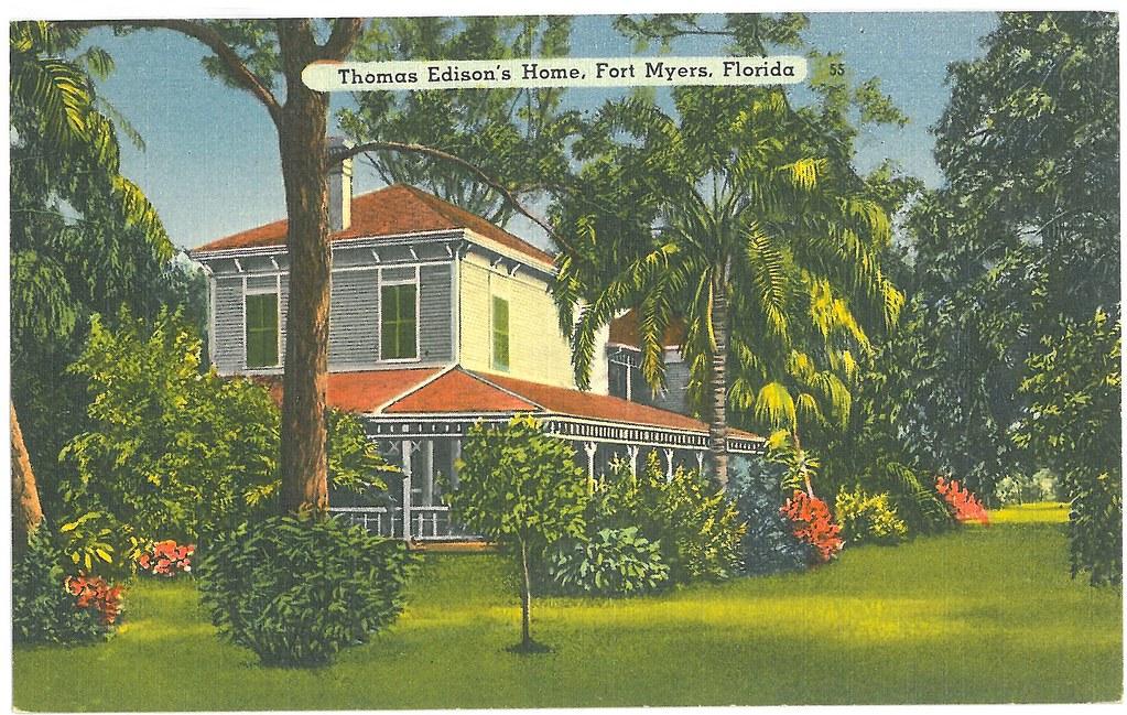 Thomas Edison 39 S Home Fort Myers Florida Vintage Postca