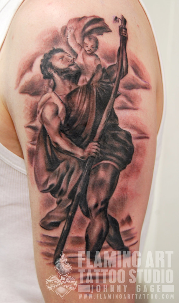 st christopher tattoo john gage flickr. Black Bedroom Furniture Sets. Home Design Ideas