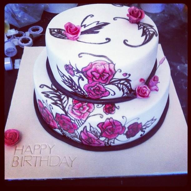 Cake Art Black Edible Colour : Hand painted flower cake! #paint #art #cake #cakes #cakest ...