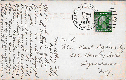 RPO Cancel on Card Mailed from McAllen, Texas, 1916