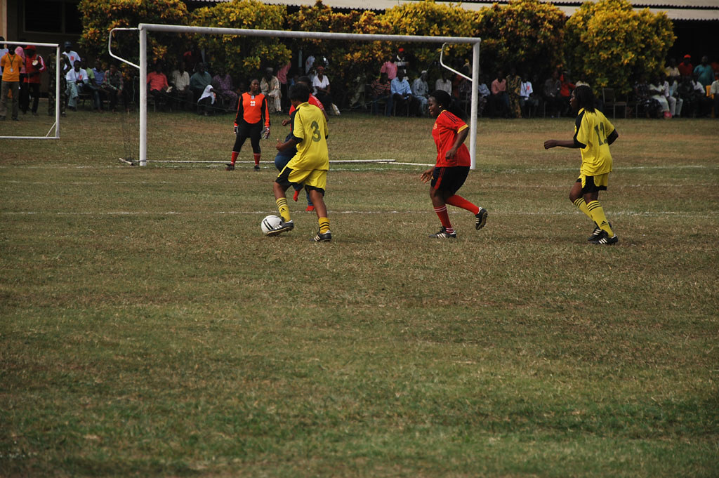 Female football exhibition at Sportsfest 2012   Yellow ...