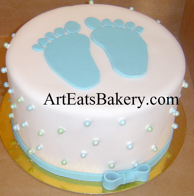 Unique white fondant baby shower cake with blue feet, edible sugar ...