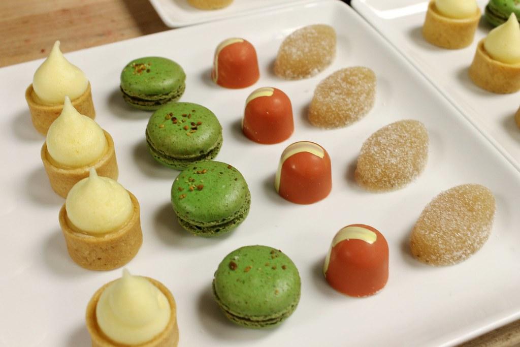 Banquet Petit Fours: Passion fruit tart, pistachio macaron ...