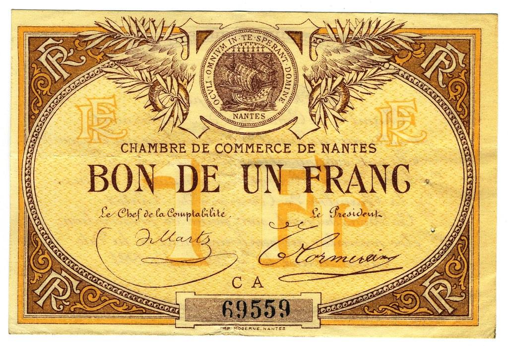 Nantes billet de 1 franc de la chambre de commerce 1918 flickr - Chambre de commerce de nantes ...