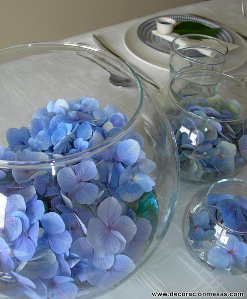 Decoracion mesa centro mesa hortensia azul 2 - Centros de mesa para bautizo economicos ...