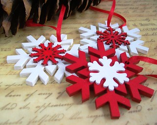 Wood snowflake Christmas decorations | by art angel 1