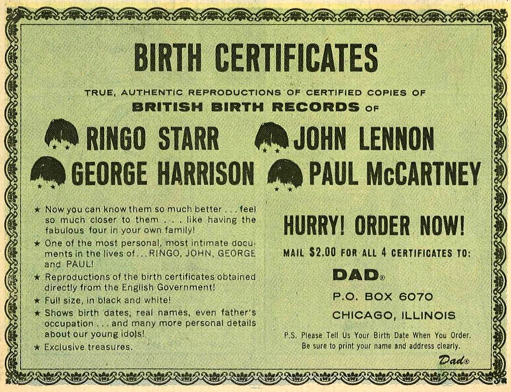 Beatles Birth Certificates 1958 Ad Tom Simpson Flickr