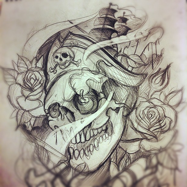 roughsketch for nick 39 s lower halfsleeve tattoo pirates flickr. Black Bedroom Furniture Sets. Home Design Ideas