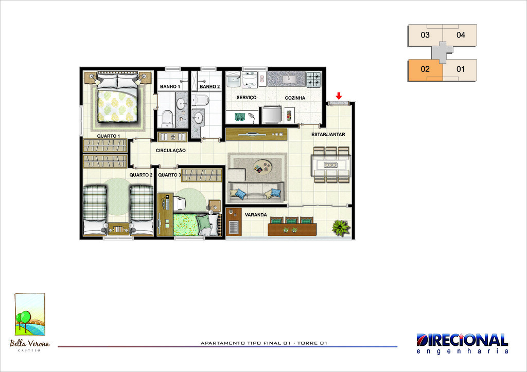 planta apartamento 3 quartos image description
