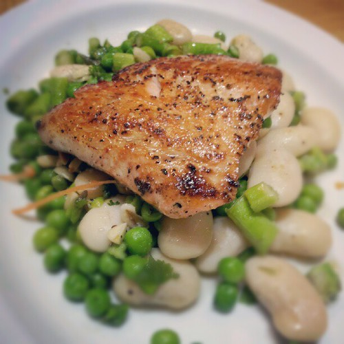 Très succulent salmon on fresh  peas, asparagus, beans | by Melody Fury