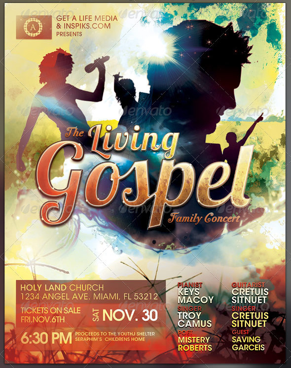The Living Gospel Church Concert Flyer Template Preview2 Flickr