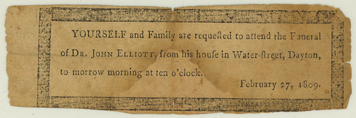 Invitation to Dr. John Elliot's funeral, 1809 | by Dayton Metro Library Local History