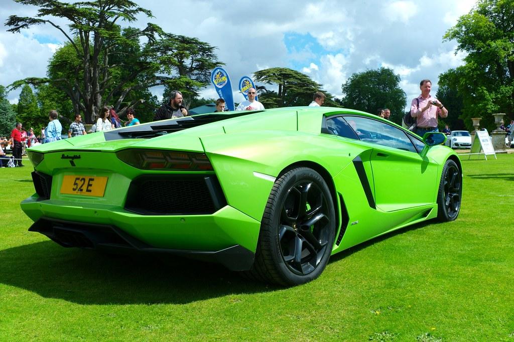Lime Green Lamborghini Aventador In The Rev Off Area At Wi