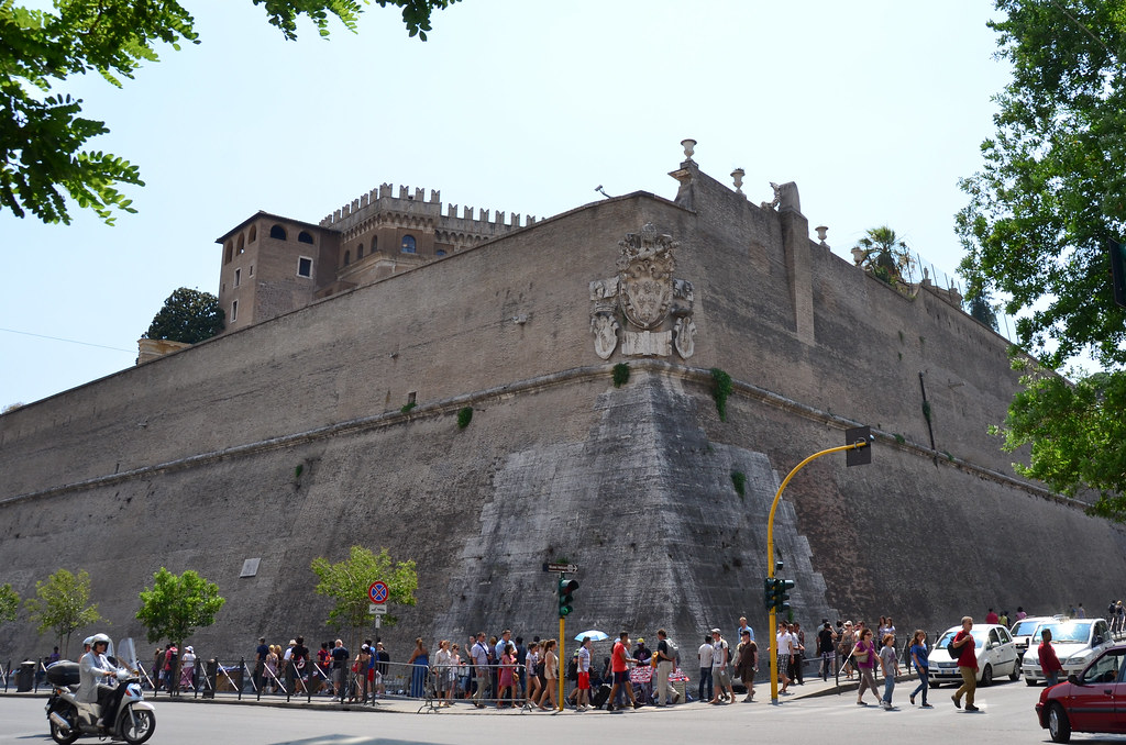 Vatican City Walls Heading Up Towards The Entrance To