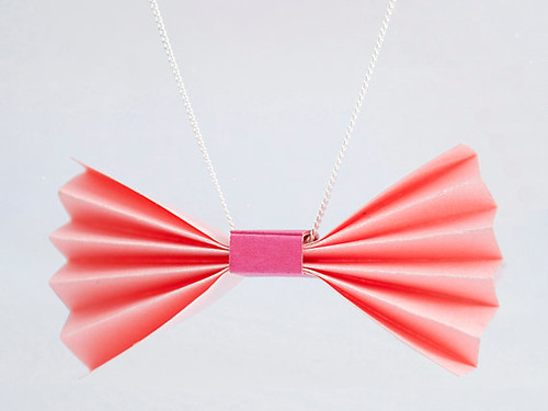 Folded Bow Tie Necklace | by all things paper