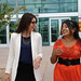 Leah Sanchez, left of the Human Resources Division, with Tatiana Espinoza of Los Alamos' Environmental Stewardship Group, walking out of the National Security Sciences Building.