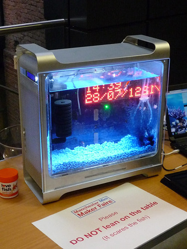 Internet Enabled Fishtank by Hayden Kibble at Manchester Maker Faire using Power Mac G5 case | by dullhunk