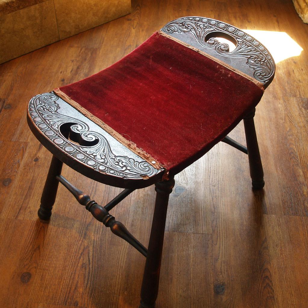 20s Antique Wood Stool Turned Leg Saddle Seat Red Upholste