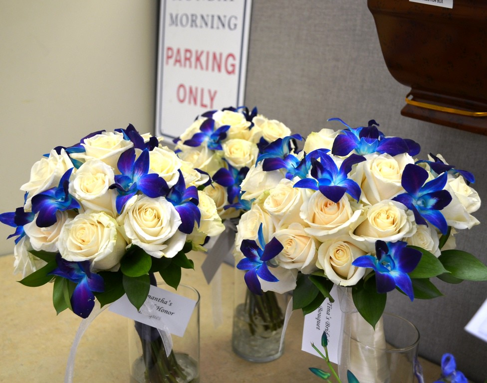 Blue and White Bridal Bouquet | White roses and blue orchids… | Flickr