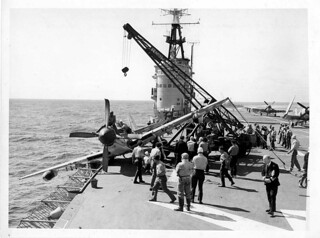 Flight deck HMAS SYDNEY with a damaged Fairey Firefly | by Australian National Maritime Museum on The Commons