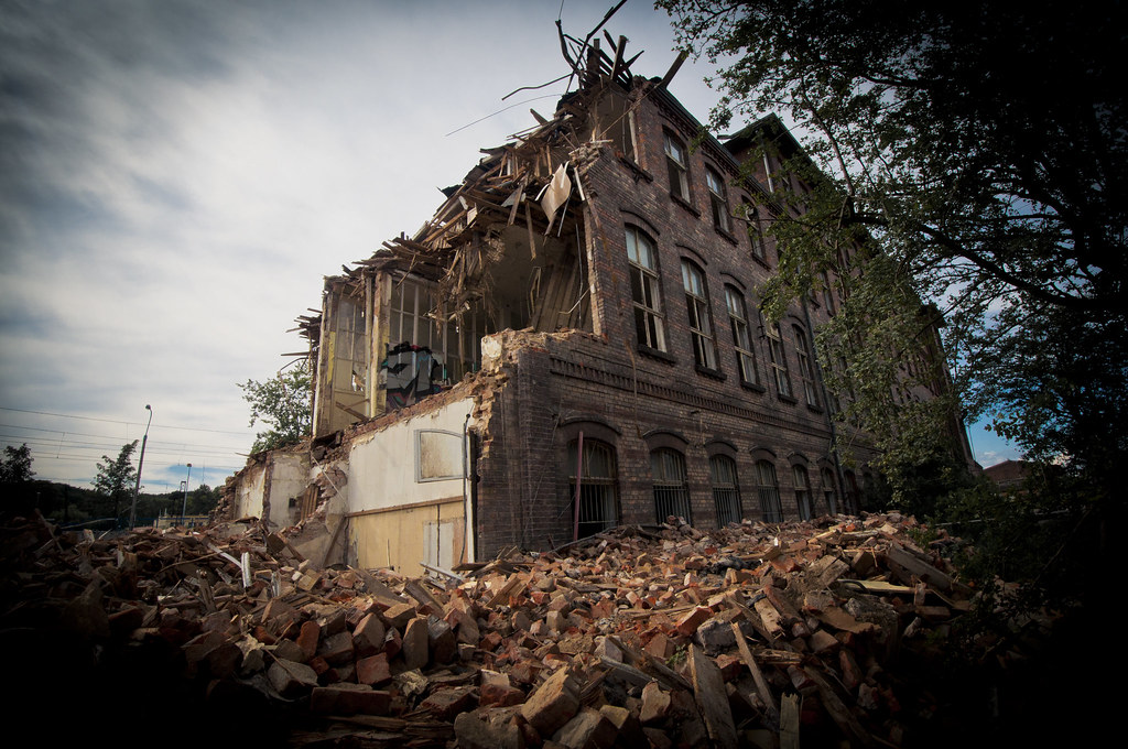 Broken Building Half Demolished Building In Gdansk