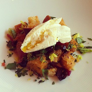 Burrata and panzanella salad at Lincoln at @lincolncenter | by jenchung