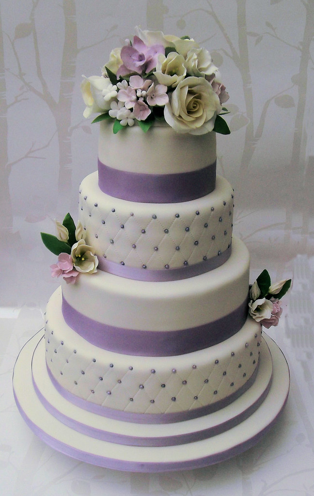 Three Tier Purple Wedding Cakes