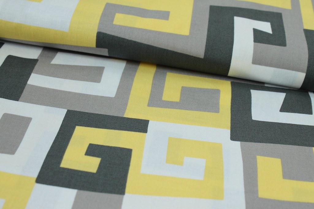 """Baumwollstoff """"Maze"""", gelb-grau"""