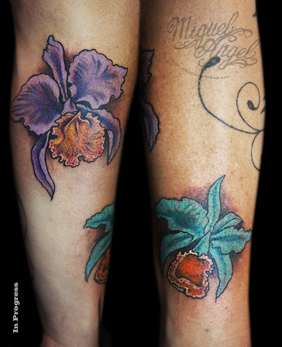 Orchid flowers custom tattoo | by Miguel Angel tattoo