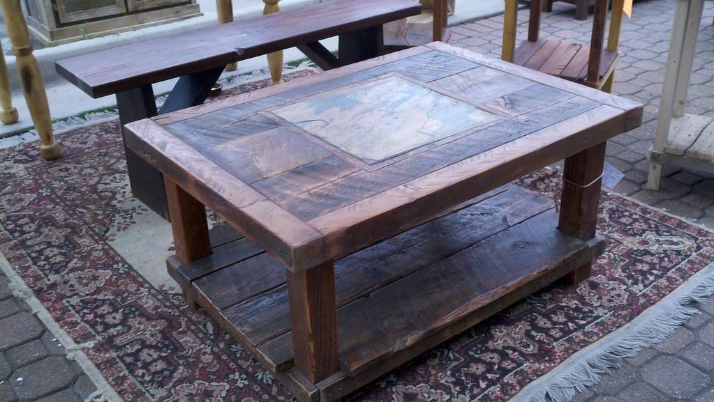 Barn wood coffee tables - Reclaimed Barn Wood Amp Natural Slate Coffee Table Sold
