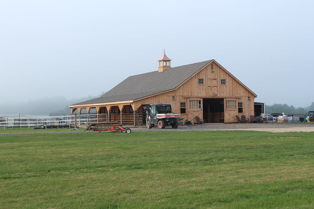 Large Horse Barn With Lean To Addition Pine Board And