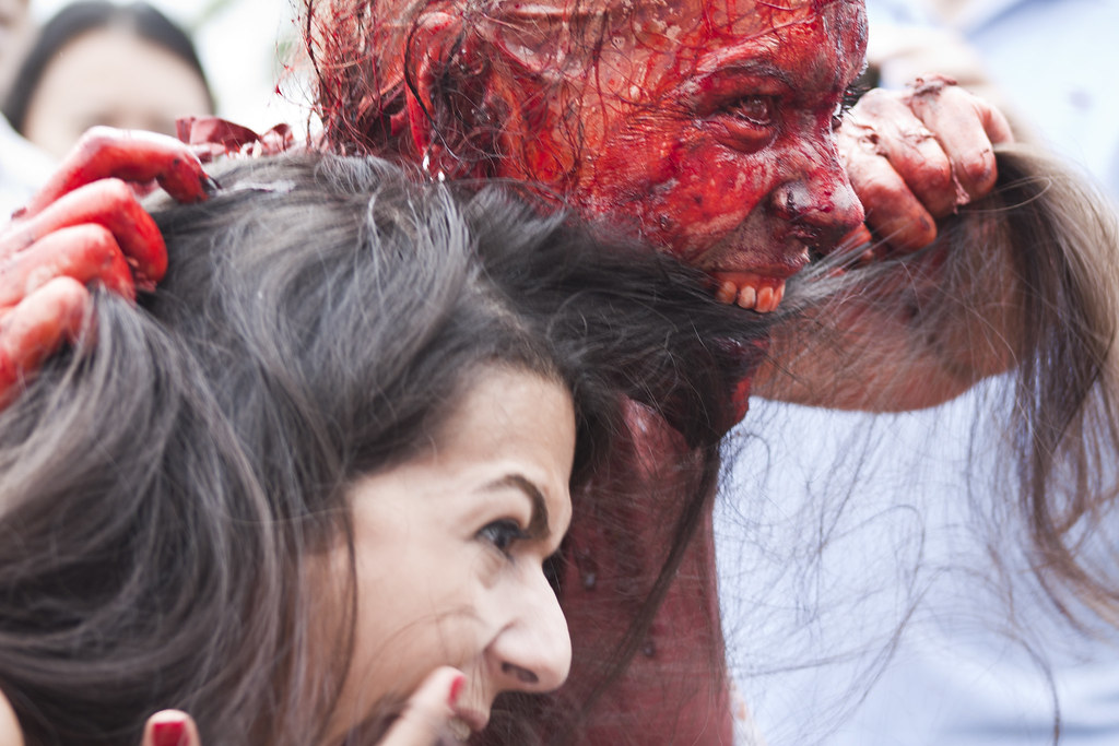 Freaky zombie eating human | The girl ask for a photo with t ...