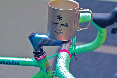Cinelli Grammo Art stem & Snow Peak titanium mug | by egocyclic