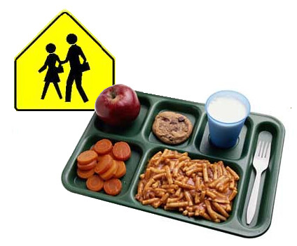Picture of a school lunch on a tray