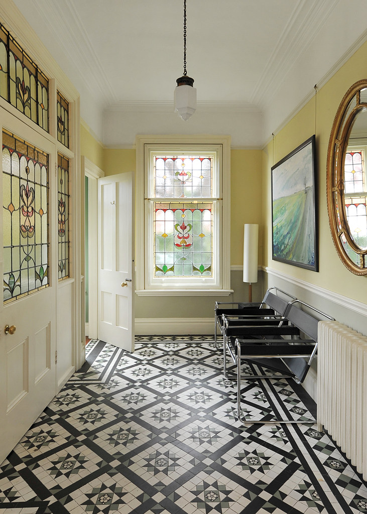 Tiled hallway large hallway country house entrance for Hallway photos