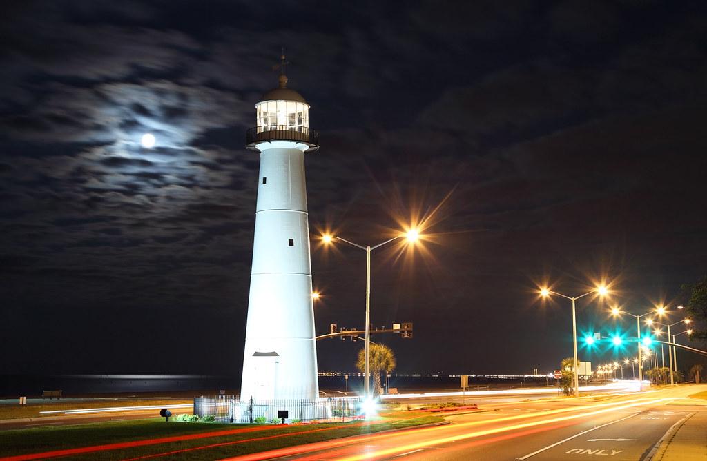 Biloxi Lighthouse Full Moon Over The Biloxi Lighthouse