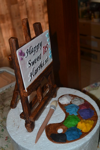 Artist cake topper - harshini s b day Artist easel ...