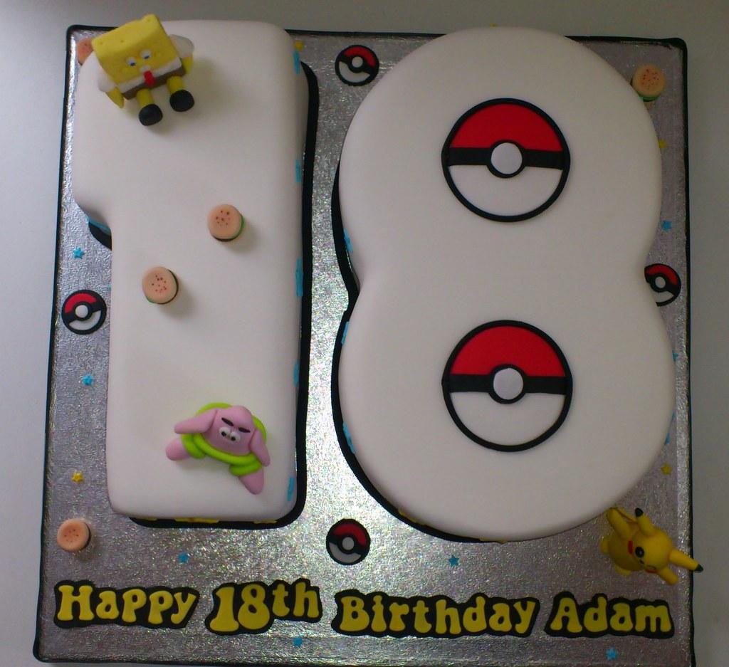 Pokemon/Spongebob 18th Birthday Cake