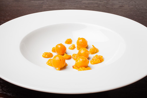 "Halibut with cape gooseberry, chipotle, and masa ""wire"" 01 