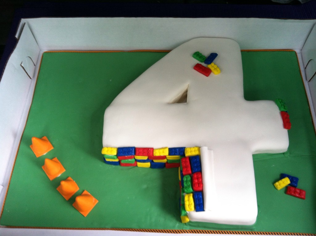 Lego Number 4 Birthday Cake
