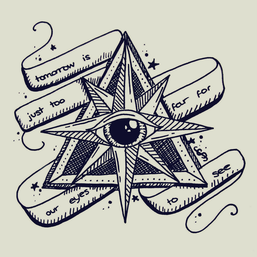 traditional tattoo creepy style eye illustration, triangle ...