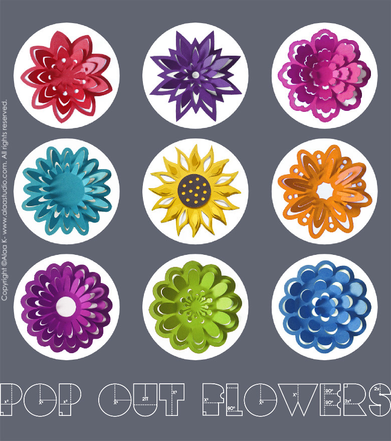 Pop out flowers svg cutting files collection www for Pop design flower