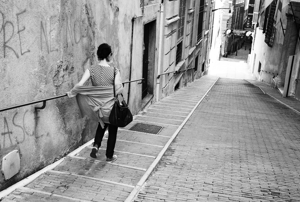 A girl walking down the street