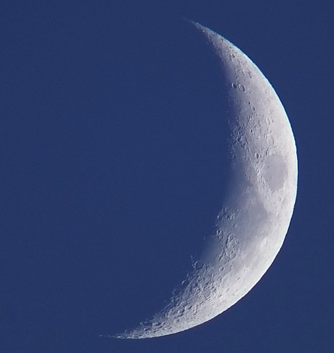 Daylight Waxing Crescent, 23% of the Moon is Illuminated on August 21, 2012 taken with a FHJIFILM X-S1 usuig a 1.7x Teleconversion Lens DSCF6188 | by Ted_Roger_Karson