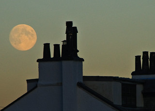 Moon and Portencross Chimneys | by g crawford