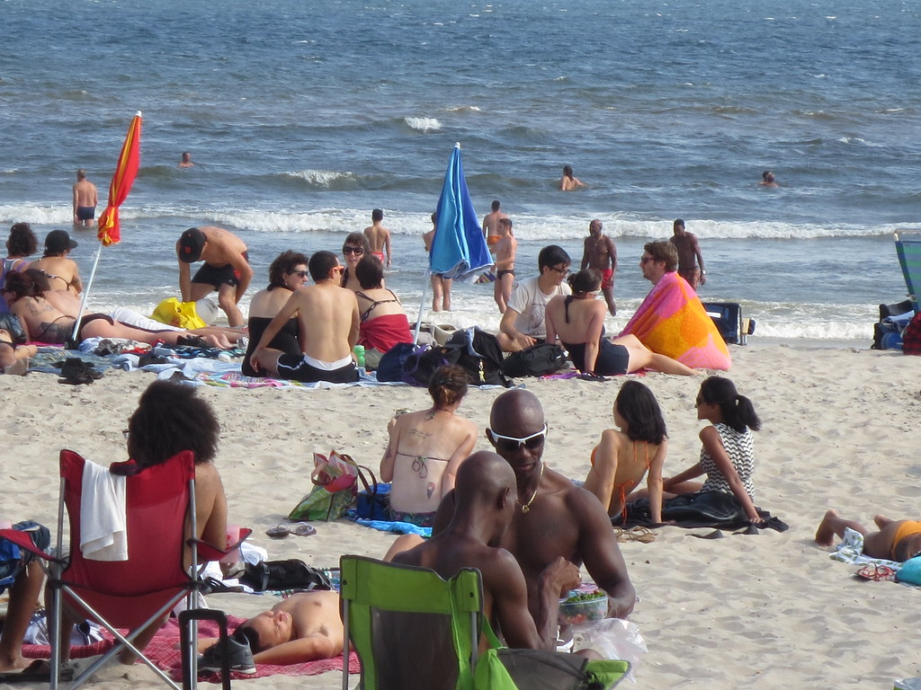 Friendly Beach Area At Jacob Riis Park In Queens New York City By