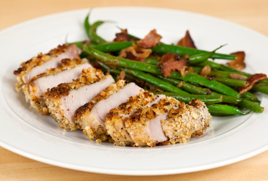 Panko-Crusted Pork Chops with Bacon-Dijon Green Beans | Flickr
