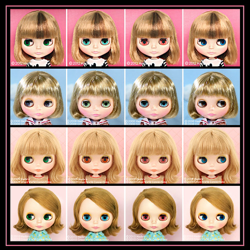 Neo Blythe Comparison: Pickle Winkle (PW/first), Happy Harbor (HaHa/second), Cassiopeia Spice (CS/third), Nicky Lad (NL/last) | by electrikbarbarella