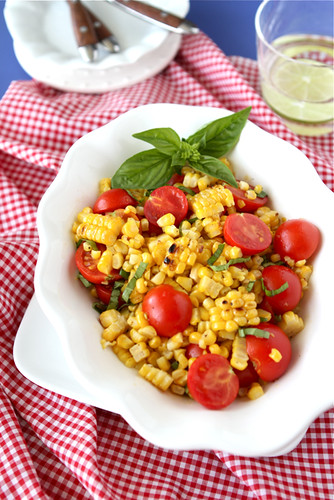 Grilled Corn Salad Recipe with Cherry Tomatoes & Basil | by CookinCanuck
